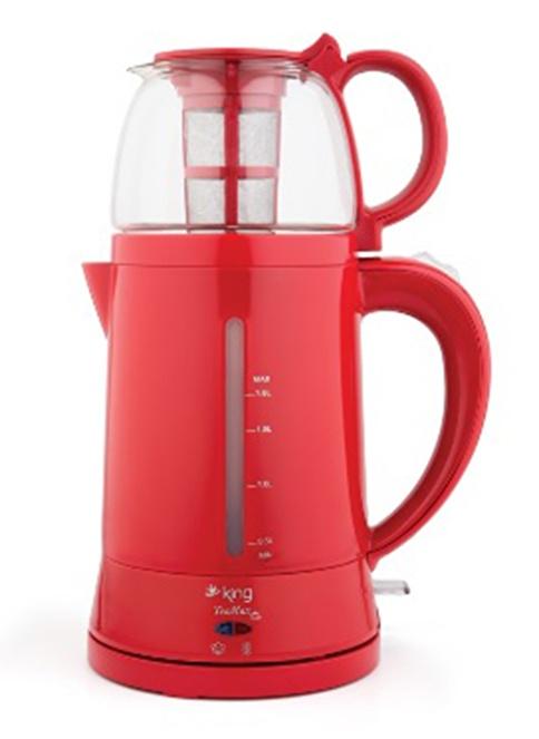 King Teamax Demlikli Otomatik Çay Makinesi Kırmızı